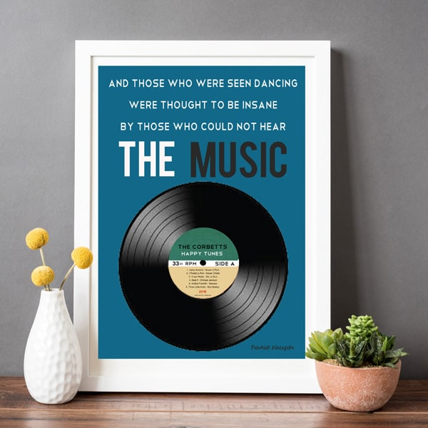 Personalised Vinyl Music Print - Father's Day gift for Dad