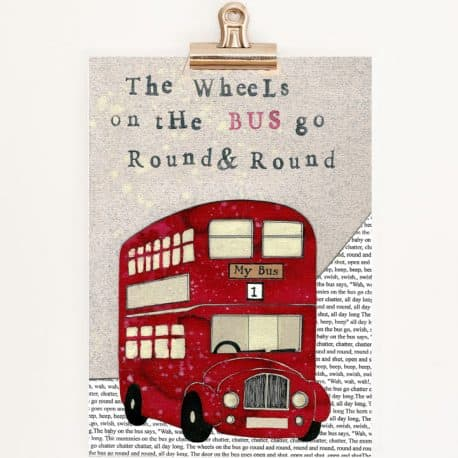 red bus print for children nursery