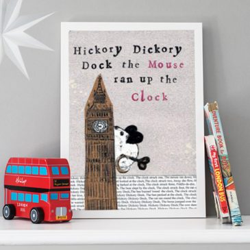 Hickory dickory dock children's print