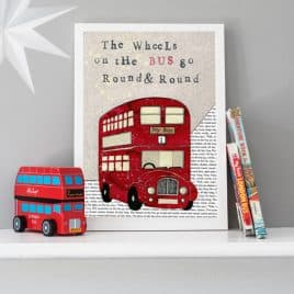 children's red bus print