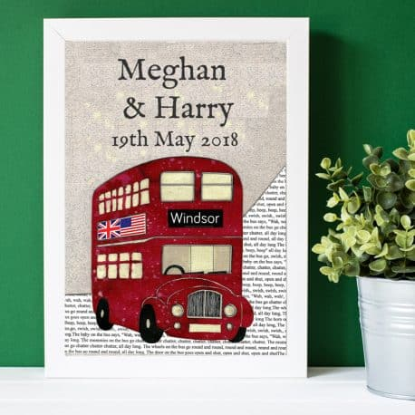 lo res Harry & meghan personalised bus print