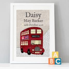 personalised red bus birth date print