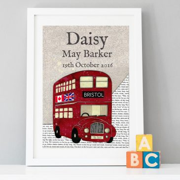 Personalised Birth Date Bus Print