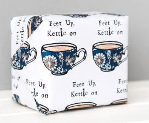 Gift wrap design with tea cups