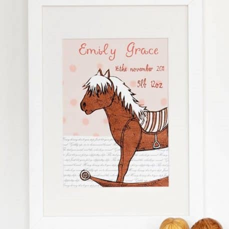 personalised new baby birth date print for a girl