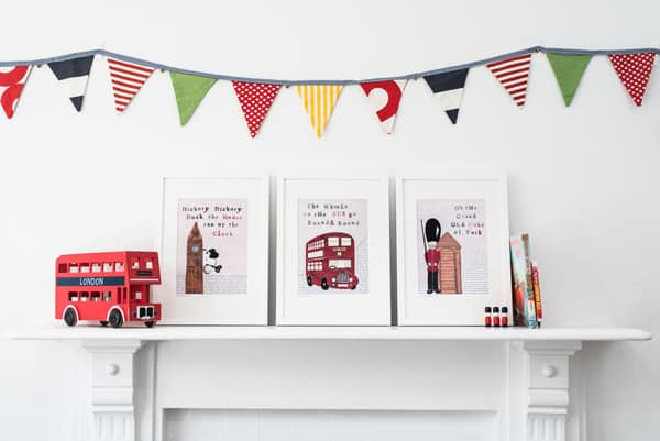 Nursery wall art for London Themed children's bedroom or nursery prints - London Bus print - Red bus print - London Prints - big Ben - Soldier Print - bus print - wall art - wall decor - children's wall decor