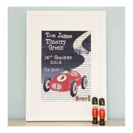 Personalised Racing Car Print