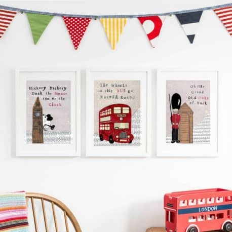 Nursery wall art for London Themed children's bedroom or nursery