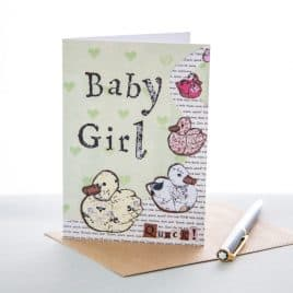 Baby Girl Ducks Greeting Card