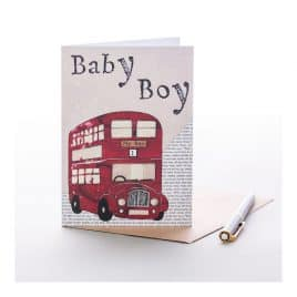 Baby Boy Bus Greeting Card