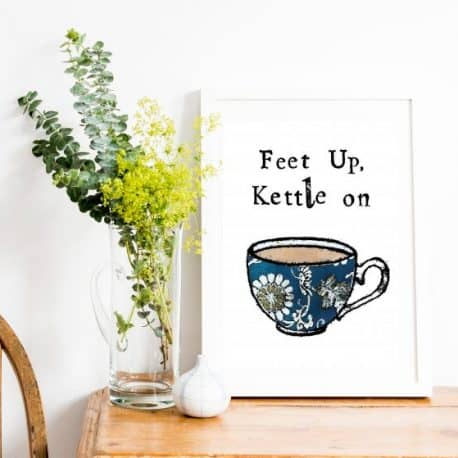 feet up kettle on print for friend