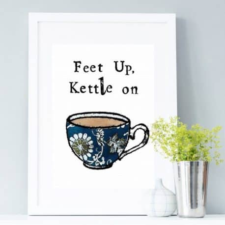 feet up kettle on print framed gift for mum