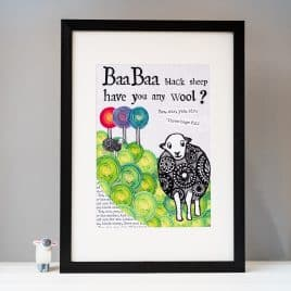 Baa Baa Black Sheep Nursery Print