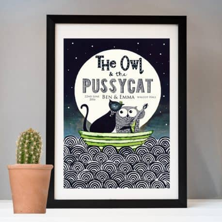 Owl & Pussycat wedding print black frame