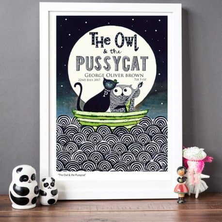 owl and pussycat personalised birth date baby print