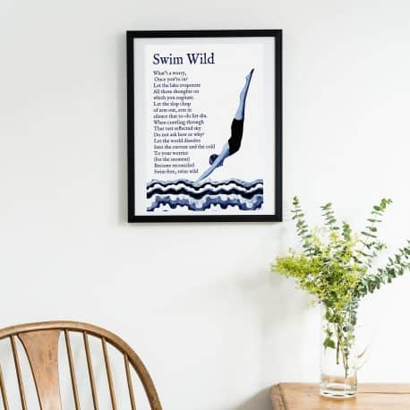 Wild swimming print gift for a wild swimmer copy