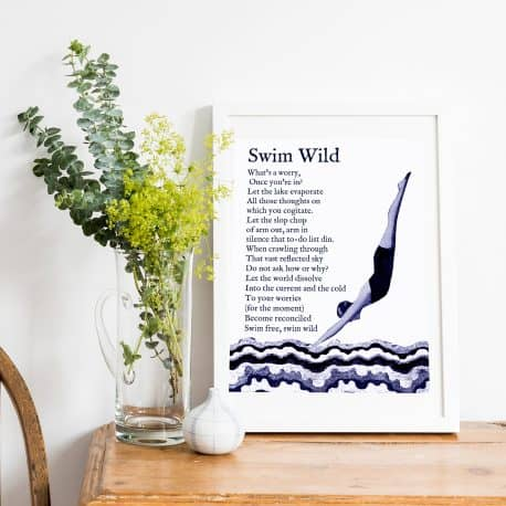 swim wild swimming print framed