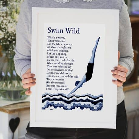 wild swimming print gift for a swimmer