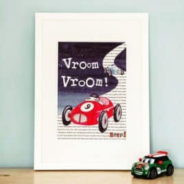 racing car print for boys bedroom