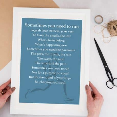 Run print motivational gift for a marathon runner