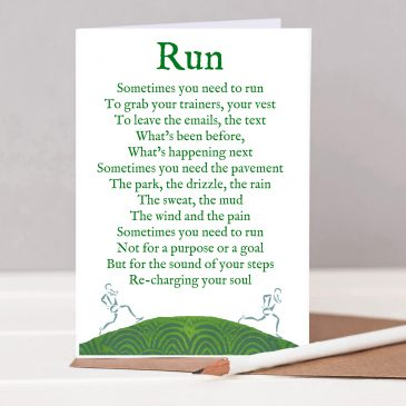 London Marathon, Marathon runner, couch to 5k, 5k, park run, run mummy run, running gift, nottingham gifts, gifts nottingham, gift for a mum, gift for a woman Run card - motivational poem card for runners written by Steven Corbett
