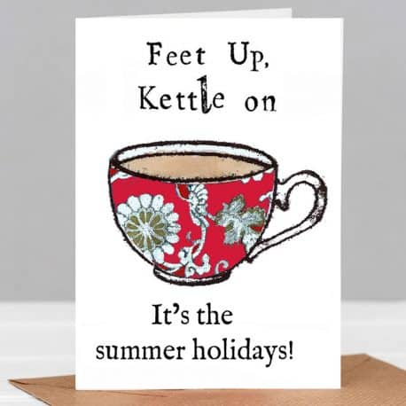 feet up summer holidays teacher card