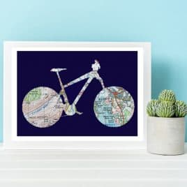 Lake District Cycling Print Birthday Gift for a Cyclist