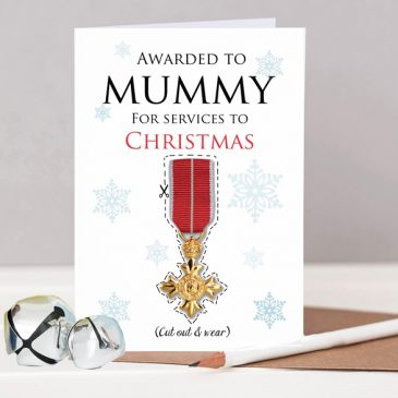 Personalised OBE Christmas Award Card For Mum