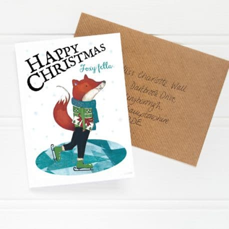 Low res HTS144 Foxy Fella Christmas Card flat shot