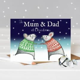 Happy Christmas Mum & Dad – Dancing Mice Christmas Card