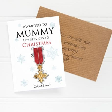 low res OBE Christmas Card for Mum flat shot