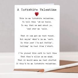 A Yorkshire Valentine funny Poem Card