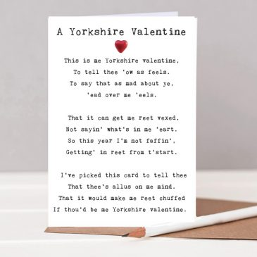 """A Yorkshire Valentine"" Poem Card"