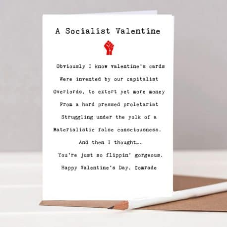 socialist valentines card, anti valentines card, valentines card