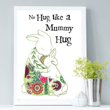 Mummy Hugs Print -rabbits print - gift for MOther's Day
