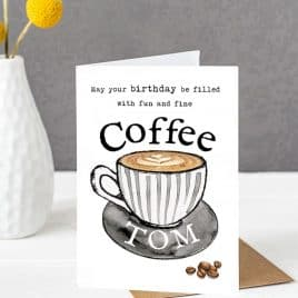 coffee lovers birthday card personalised