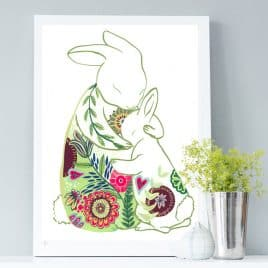 Mothers day print, rabbits print