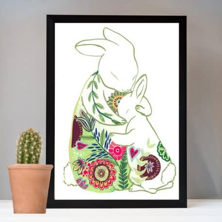 Rabbit hugs print gift for Mother's Day