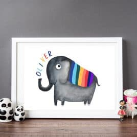 Personalised elephant print - gift for naming day - rainbow print