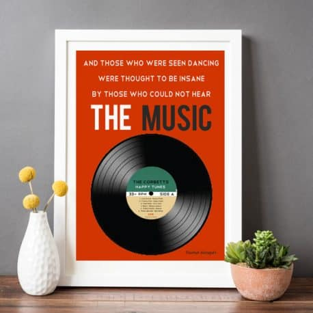 vinyl record personalised print white frame