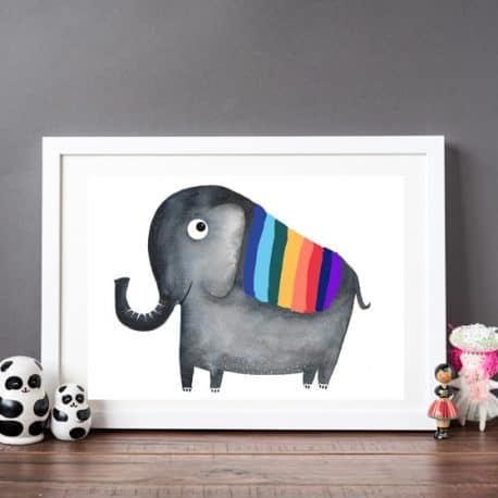 Rainbow Elephant Print – Print for Children's bedroom – Helena Tyce Designs – kid's Wall art – nursery decor – naming day gift