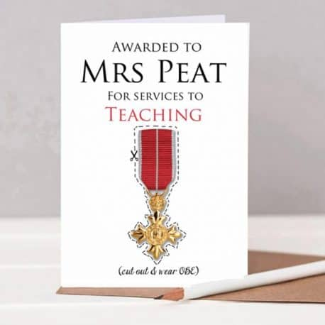 Personalised Teacher Thank you Card with cut out Medal