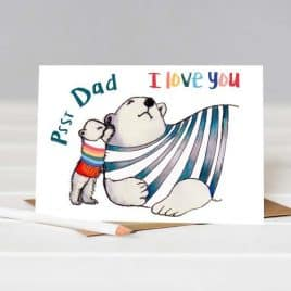 Psst Daddy I Love You Father's Day Card - cute card for Daddy - Daddy Bear Card - bespoke cards Nottingham - Helena Tyce Designs