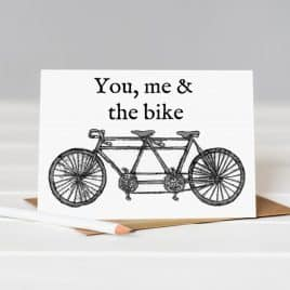 You, Me & the Bike Card - Helena Tyce Designs - card for cyclist - Birthday card for bike fanatic - Helena Tyce Designs - Gifts Nottingham