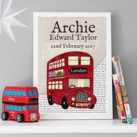 red bus birth date print, gift for a new baby, baby boy gift