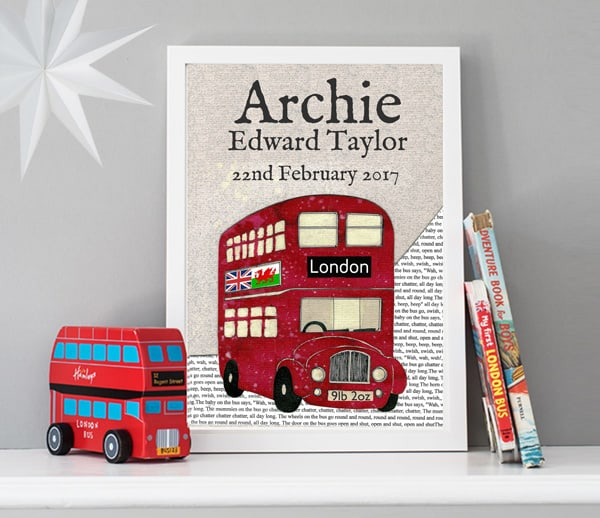 red bus birth date print