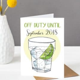teacher card, gin card, summer holidays, thank you teacher card