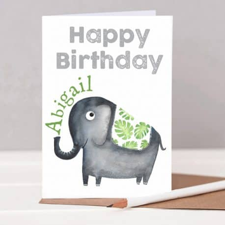 HTS79 low resPersonalised Elephant birthday card