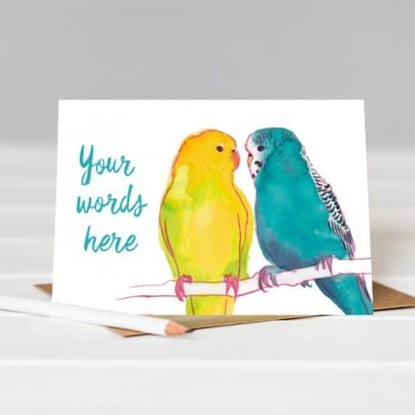budgies birthday card