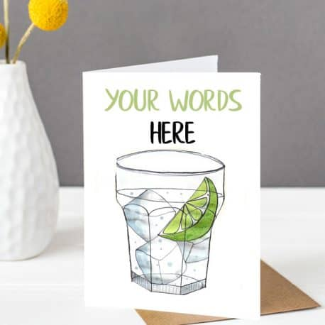 gin personalised birthday card